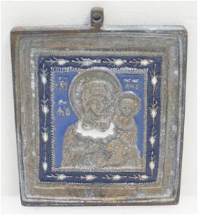 ANTIQUE RUSSIAN BRONZE ENAMELED ICON