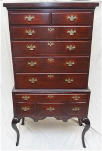 18th c QUEEN ANNE MAHOGANY HIGHBOY CHEST