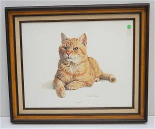 CHARLES FRACE MORRIS THE CAT LITHOGRAPH PRINT