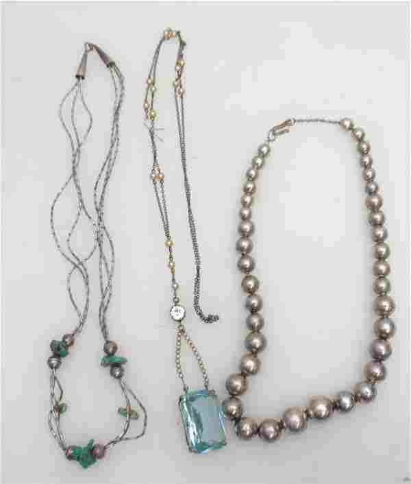 3 PC STERLING + CZECH GLASS NECKLACES