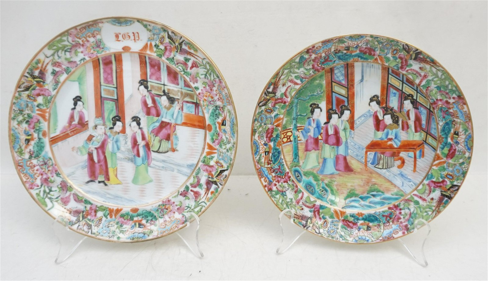 2 CHINESE ROSE MEDALLION PLATE & BOWL