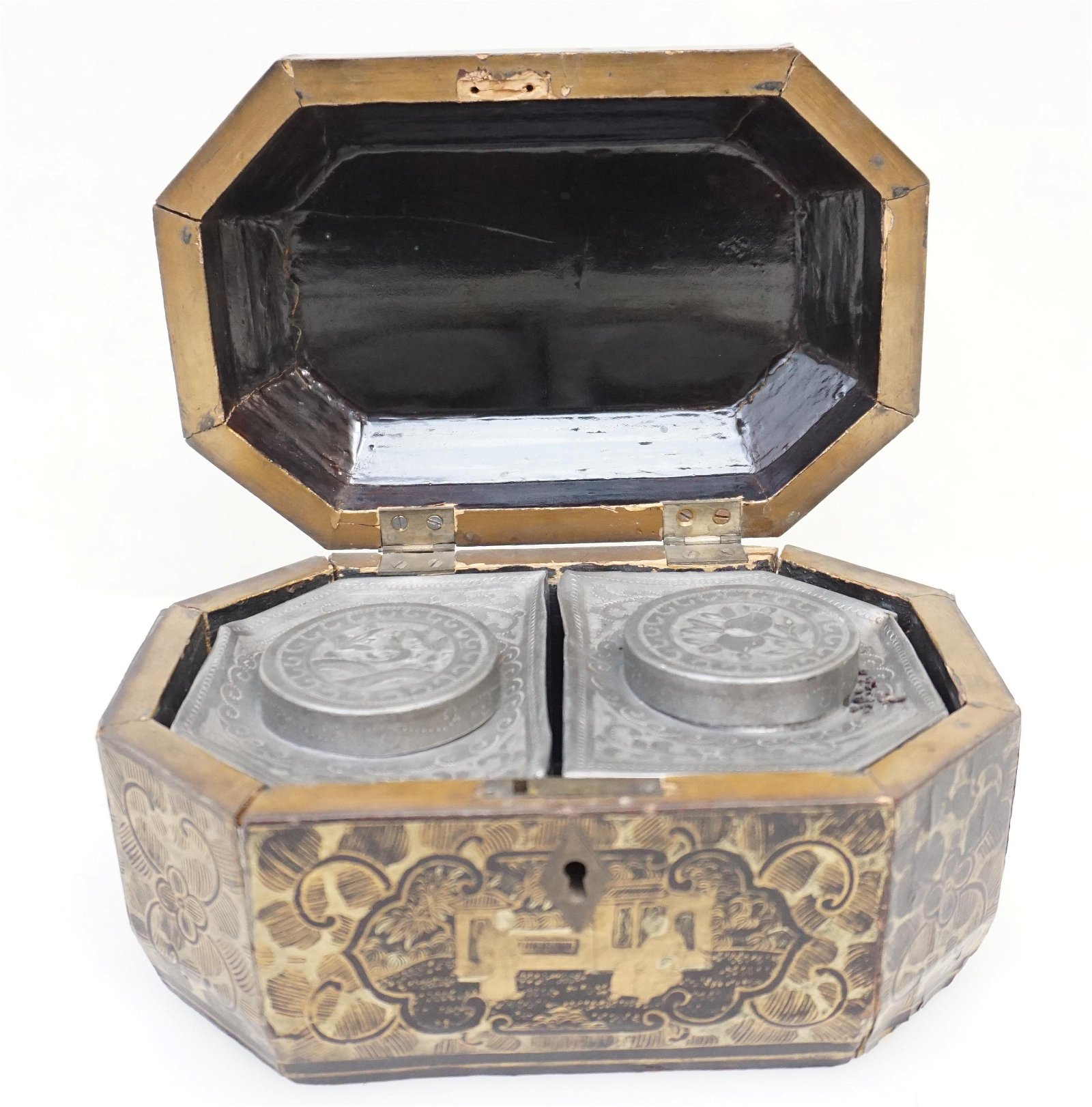 ANTIQUE CHINESE EXPORT TEA CADDY