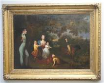 19TH C AMERICAN FAMILY PORTRAIT OIL ON PANEL