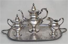 4 PC STERLING & SP COFFEE SERVICE
