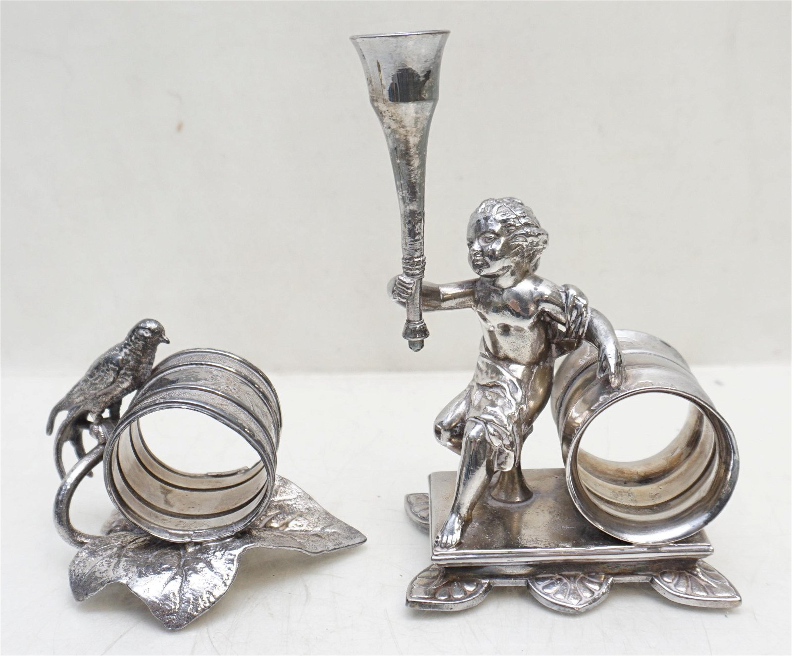 2 VICTORIAN FIGURAL NAPKIN RINGS