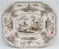 RIDGWAY 19th c BROWN TRANSFERWARE PLATTER