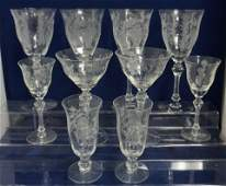 10 PERSIAN PHEASANT ETCHED GLASSES