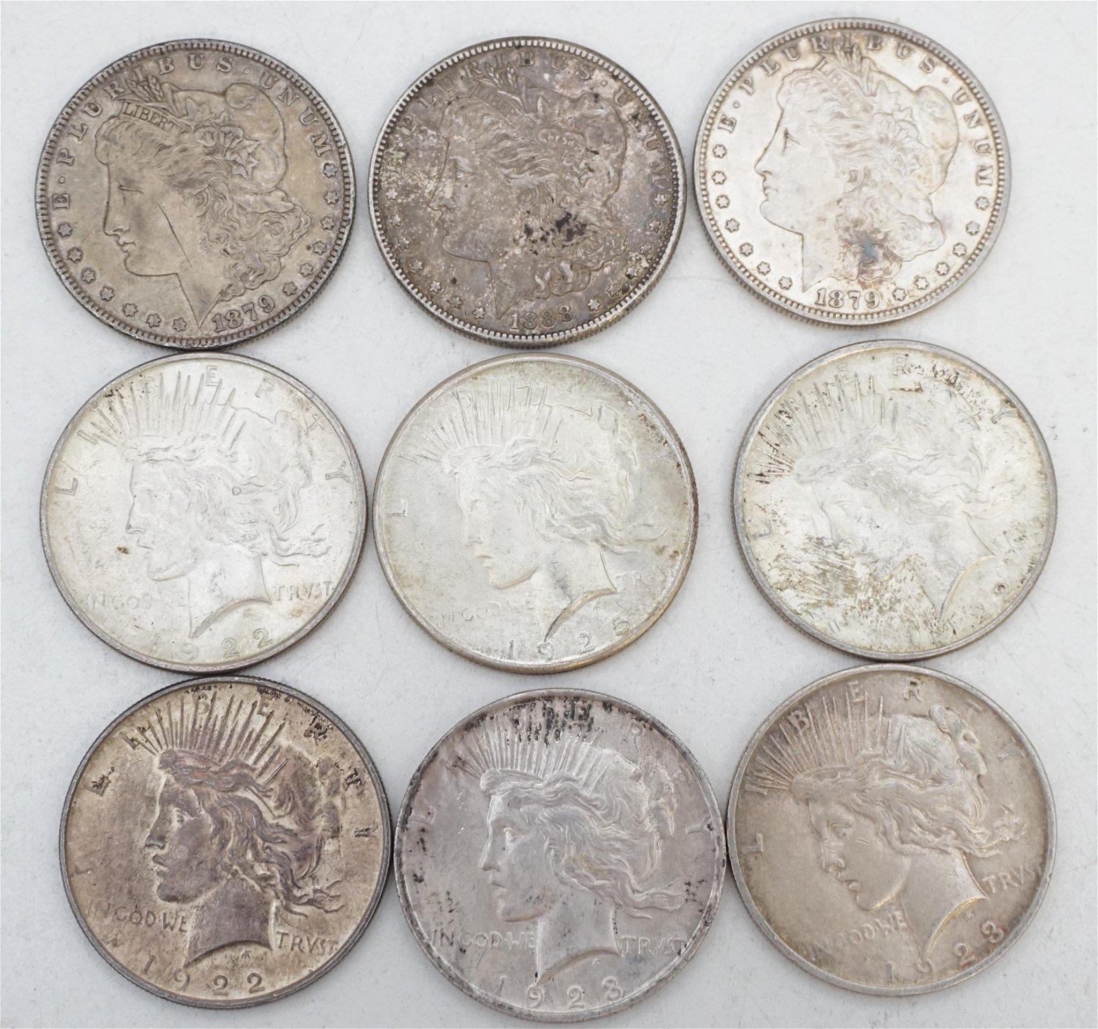 9 MORGAN SILVER DOLLARS