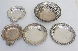 5 pc STERLING BUTTER / NUT DISHES