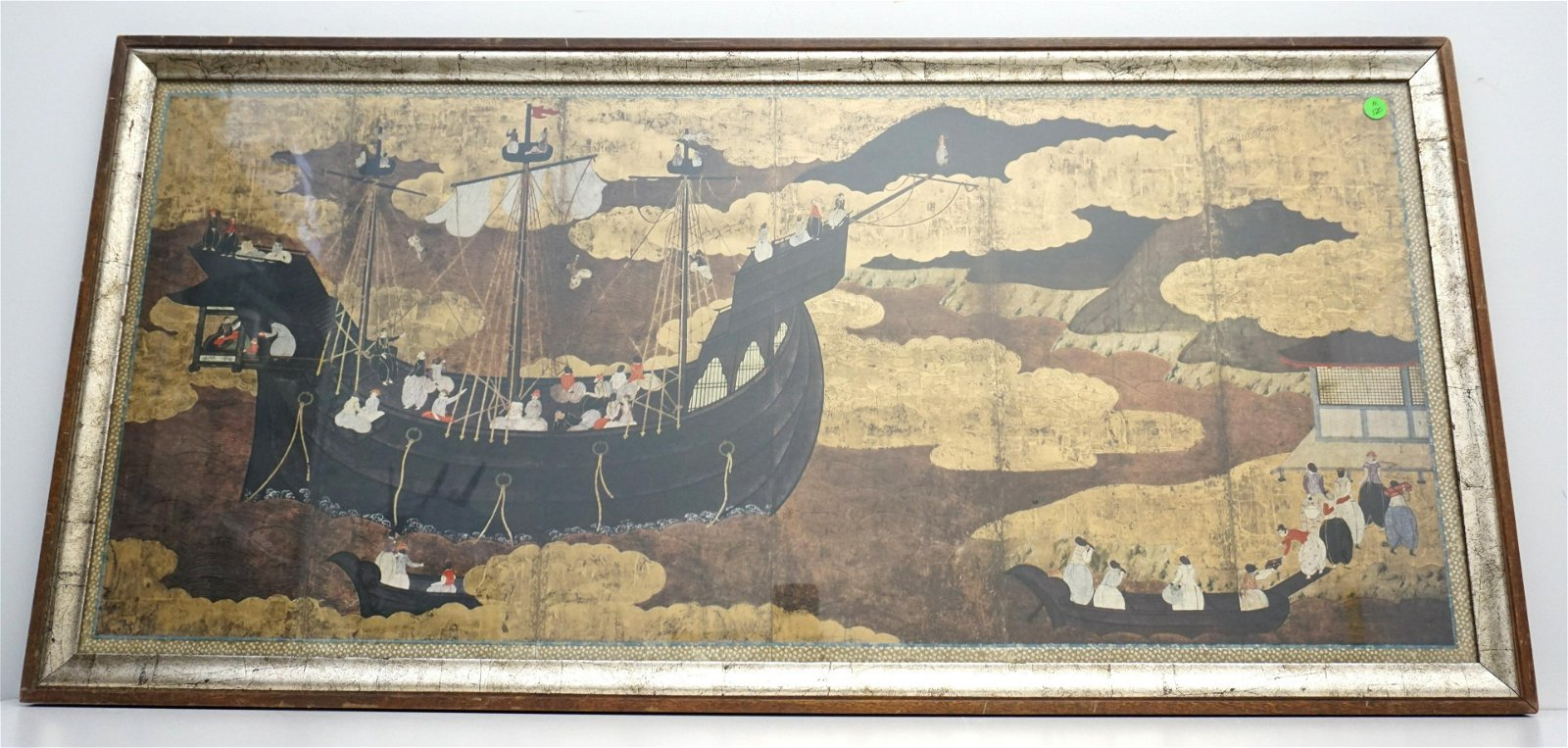 After 16th c JAPANESE POLYCHROME & GOLD LEAF PAINTING