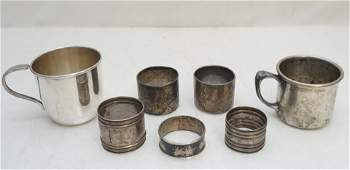 7 PC VICTORIAN NAPKIN RINGS + BABY CUPS