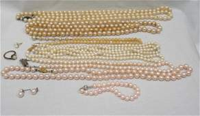 10 pc ESTATE COSTUME PEARL NECKLACES
