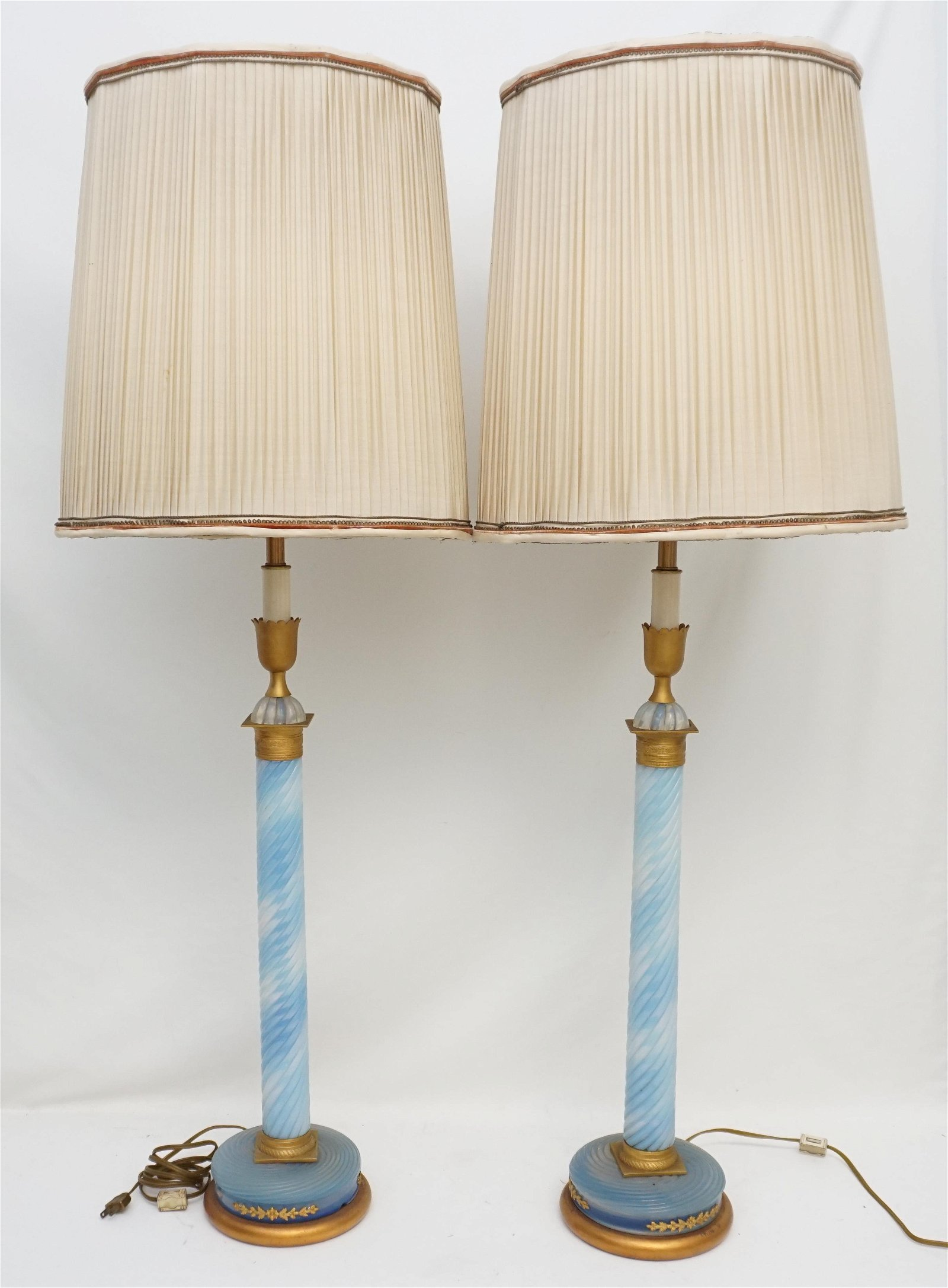 2 TALL BLUE OPALESCENT GLASS GILDED LAMPS