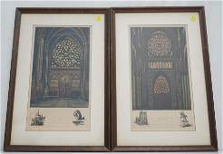 2 FRENCH CATHEDRAL HAND COLORED ETCHINGS