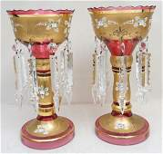 PAIR CRANBERRY BOHEMIAN GLASS LUSTRES