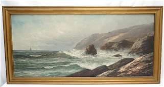 LARGE PAUL WEBER (1823-1916) COASTAL SEASCAPE