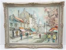 FRENCH MID CENTURY IMPASTO OIL MONTMARTRE PARIS