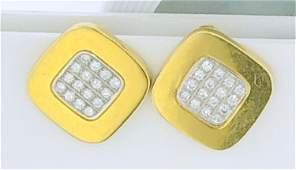 18KT GOLD DIAMOND ROUNDED SQUARE EARRINGS (15.50 GRAMS)