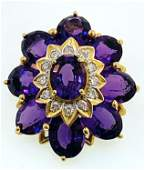 GORGEOUS 14KT GOLD AMETHYST  DIAMOND BROOCH 1060