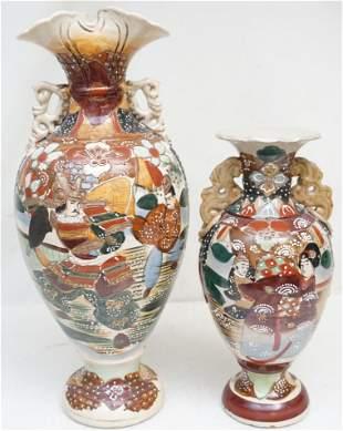2 JAPANESE POTTERY SATSUMA VASES