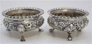 TWO BALTIMORE STERLING REPOUSSE SALT CELLARS