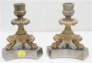 PAIR BRASS PAW FOOT CANDLESTICKS