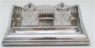 ENGLISH SILVER PLATE DOUBLE INKWELL