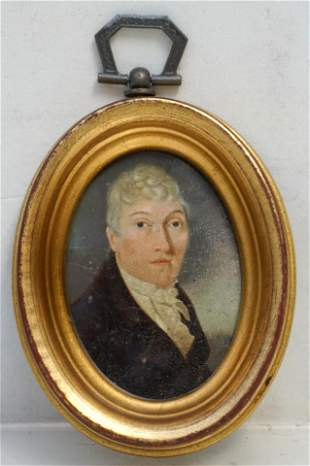 ENGLISH EARLY 19th C PORTRAIT MINIATURE OF A GENTLEMAN