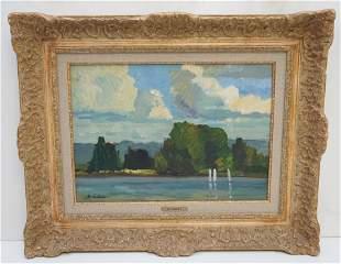 ALBERT MALET (1912-1986) BORD DU SEINE IMPRESSIONIST