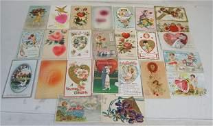 25 ANTIQUE VALENTINES POSTCARDS c. 1900-1915
