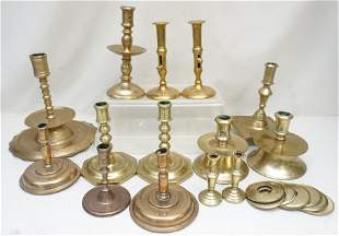 GROUPING OF 14 ANTIQUE / VINTAGE BRASS CANDLESTICKS