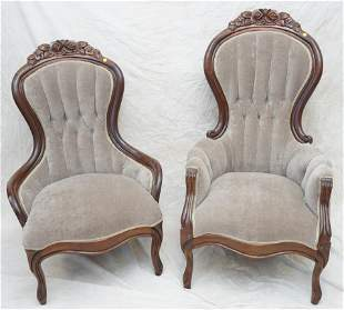 VICTORIAN CARVED CREST HIS & HERS CHAIRS