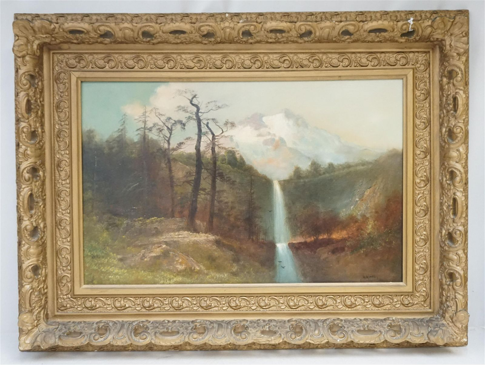 LARGE WESTERN LANDSCAPE WATERFALLS OIL PAINTING