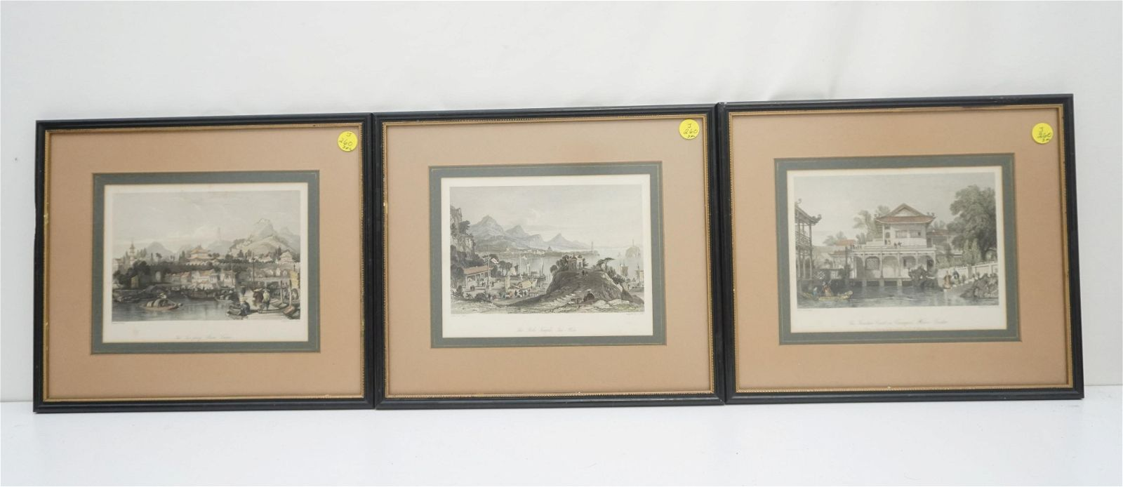 3 FRAMED 1845 COLOR ENGRAVINGS CHINA TRADE