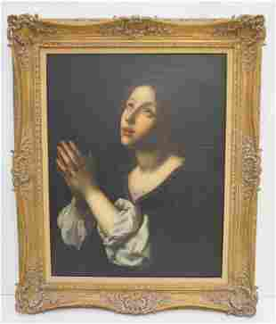 ANTIQUE CONTINENTAL OIL YOUNG WOMAN PRAYING (18th-19th