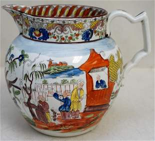 19TH C. ENGLISH PEARLWARE CHINOISERIE JUG