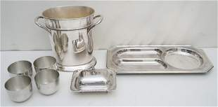 7 PC JEFFERSON PEWTER + SILVER PLATE