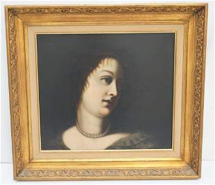 19th c OIL PAINTING PORTRAIT WITH PEARLS