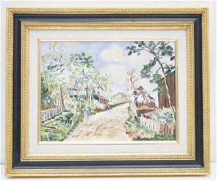 20th c VILLAGE LANE ON CANVAS PAINTING