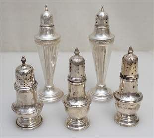 5 STERLING SILVER SALT SHAKERS