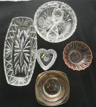 5 pc GLASS WATERFORD - BRILLIANT - DEPRESSION