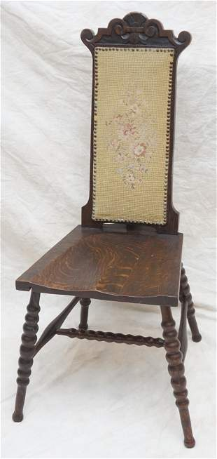 ANTIQUE SOLID OAK HALL / SIDE CHAIR
