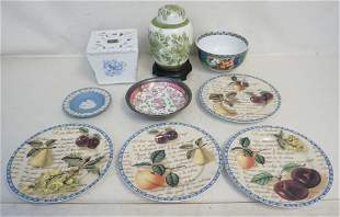 9 pc GROUPING PORCELAIN PLATES - GINGER JAR +