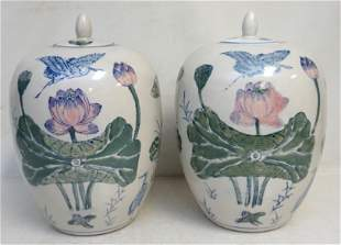 2 LARGE CHINESE PORCELAIN GINGER JARS CRANE & LOTUS