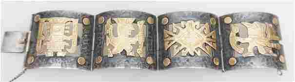 MID CENTURY 18K & STERLING SILVER OLD CUZCO BRACELET