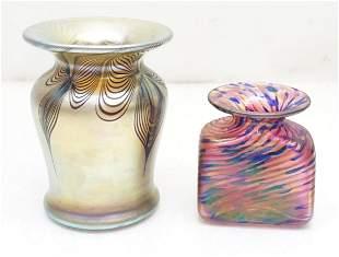 2 ROBERT HELD & ZEPHYR ART GLASS - SIGNED