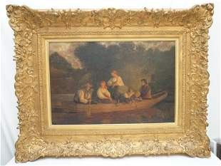 LARGE 19th C. CONTINENTAL OIL FAMILY BOATING
