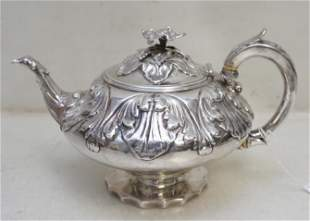 GEORGIAN EXCEPTIONAL STERLING SILVER CHARLES FOX TEAPOT