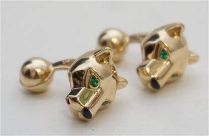 CARTIER 18KT GOLD PANTHERE EMERALD & ONYX CUFF LINKS