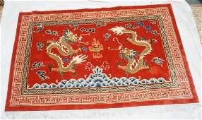 ART DECO FINE SILK CHINESE DRAGON RUG
